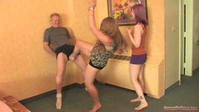 2 girls ballbusting